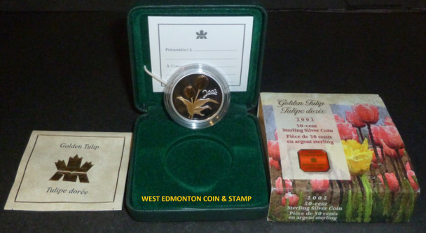 2002 GOLDEN TULIP 50-CENT STERLING SILVER AND GOLD PLATE COIN. ROYAL CANADIAN MINT LMT TO 20000.
