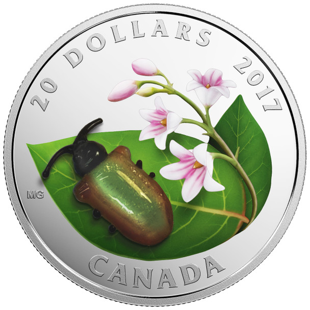 2017 $20 FINE SILVER COIN LITTLE CREATURES: DOGBANE BEETLE