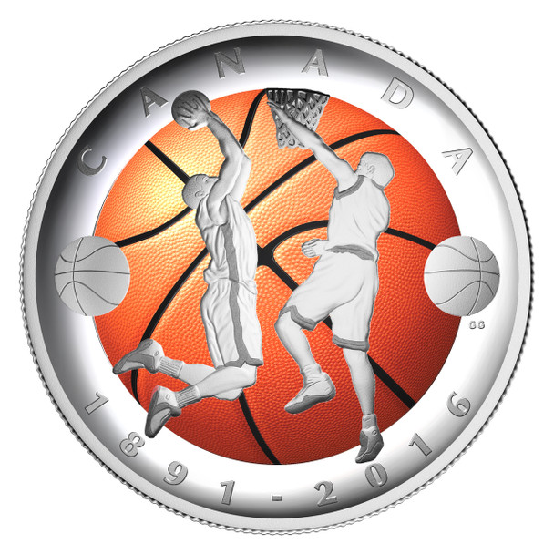 2016 $25 FINE SILVER COIN 125TH ANNIVERSARY OF THE INVENTION OF BASKETBALL