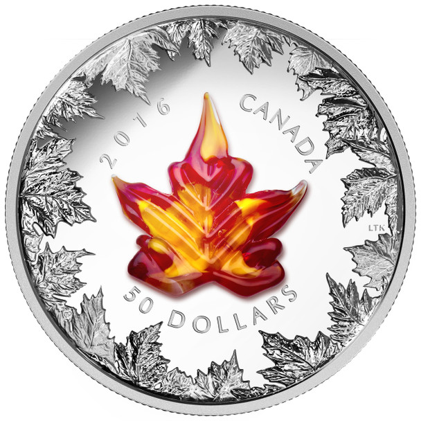 2016 $50 FINE SILVER COIN MURANO MAPLE LEAF - AUTUMN RADIANCE