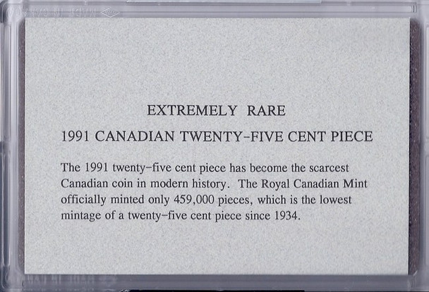 4 1991 CANADIAN QUARTERS - UNC FROM SEALED ROLL