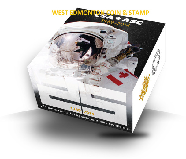 SALE - 2014 $20 FINE SILVER COIN 25TH ANNIVERSARY OF THE CANADIAN SPACE AGENCY