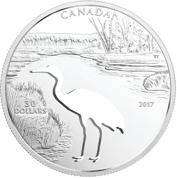 2017 $30 FINE SILVER COIN ENDANGERED ANIMAL CUTOUT: WHOOPING CRANE