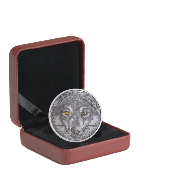 2017 $15 FINE SILVER COIN IN THE EYES OF THE WOLF