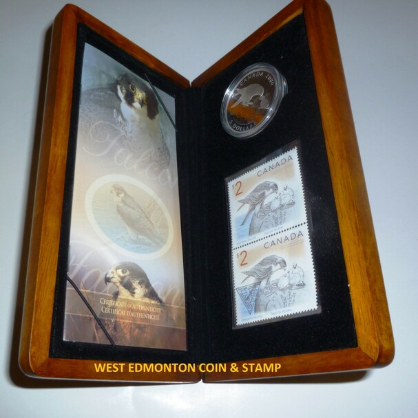 2006 $5 FINE SILVER COIN AND STAMP SET - FALCON