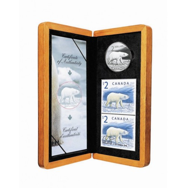 2004 STAMP AND COIN SET - THE PROUD POLAR BEAR - STERLING SILVER $2 COIN