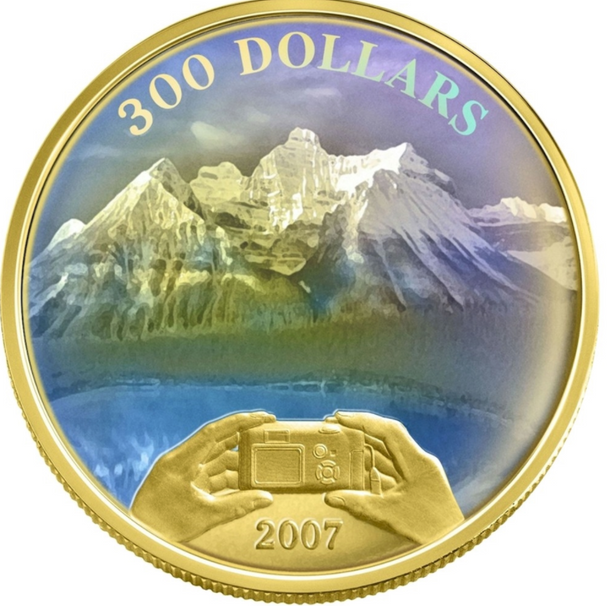 2007 $300 14KT GOLD COIN - CANADIAN ACHIEVEMENTS - PANORAMIC PIC ROCKIES MOUNTAINS