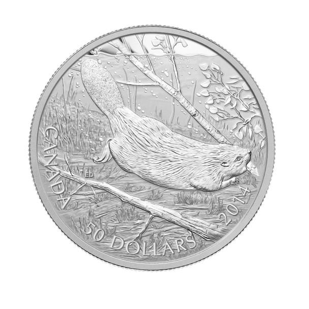 SALE - 2014 $50 FINE SILVER COIN SWIMMING BEAVER