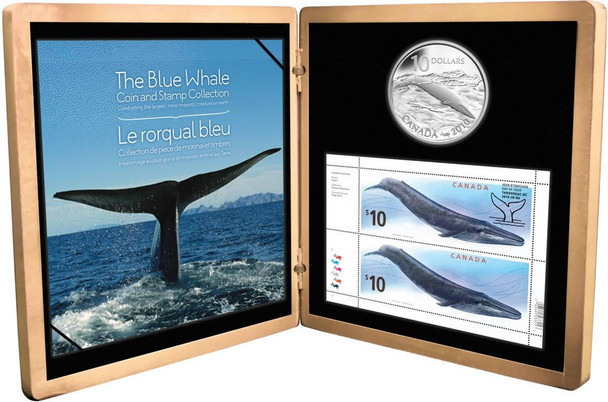 SALE - 2010 $10 STERLING SILVER - BLUE WHALE COIN AND STAMP SET (LAST IN SERIES)