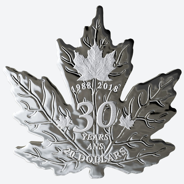 2018 $20 PURE SILVER COIN 30TH ANNIVERSARY OF THE SILVER MAPLE LEAF
