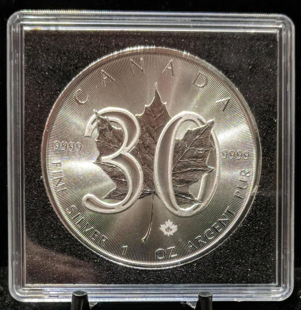 30TH ANNIVERSARY 1oz. 2018 CANADIAN SILVER MAPLE LEAF COIN