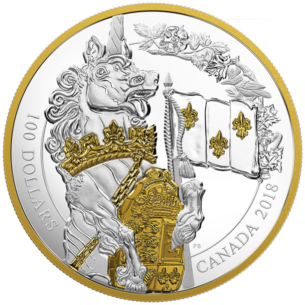 2018 $100 FINE SILVER COIN KEEPERS OF PARLIAMENT: THE UNICORN