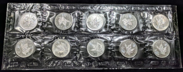 1oz. 2008 CANADIAN INUKSHUK OLYMPIC SILVER MAPLE LEAF COIN - SEALED BUNDLE OF 10