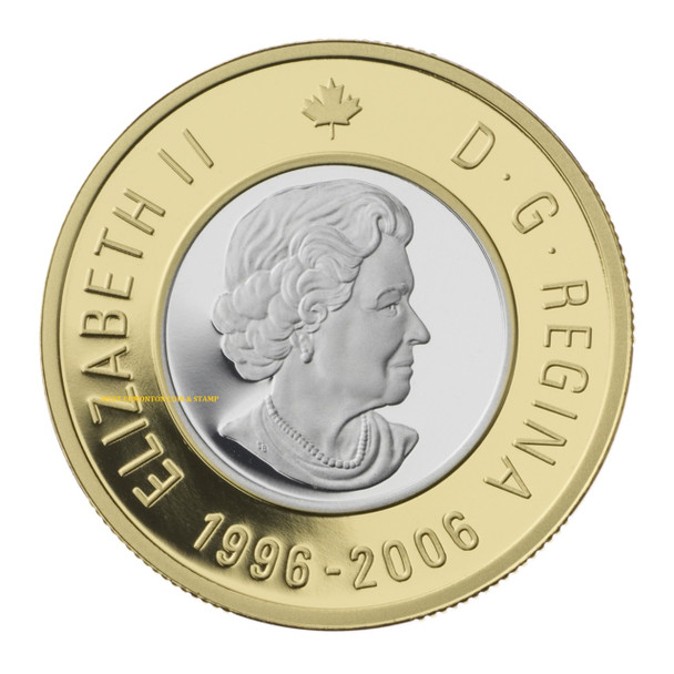 SALE - 2006 10TH ANNIVERSARY OF THE TOONIE $2 GOLD COIN - QUANTITY SOLD: 2,068