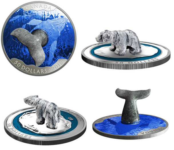 2-COIN BUNDLE -  2018 $50 FINE SILVER SOAPSTONE SCULPTURES - WHALE'S TAIL & POLAR BEAR