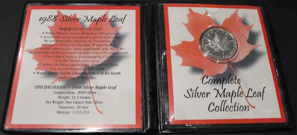 1988 SILVER MAPLE LEAF - .9999 1OZ. PURE SILVER - FIRST COMMEMORATIVE MINT FOLDER
