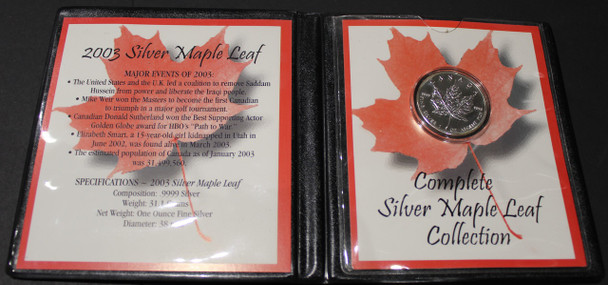 2003 SILVER MAPLE LEAF - .9999 1OZ. PURE SILVER - FIRST COMMEMORATIVE MINT FOLDER