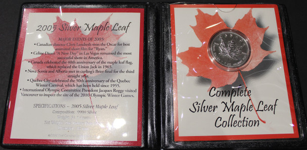2005 SILVER MAPLE LEAF - .9999 1OZ. PURE SILVER - FIRST COMMEMORATIVE MINT FOLDER