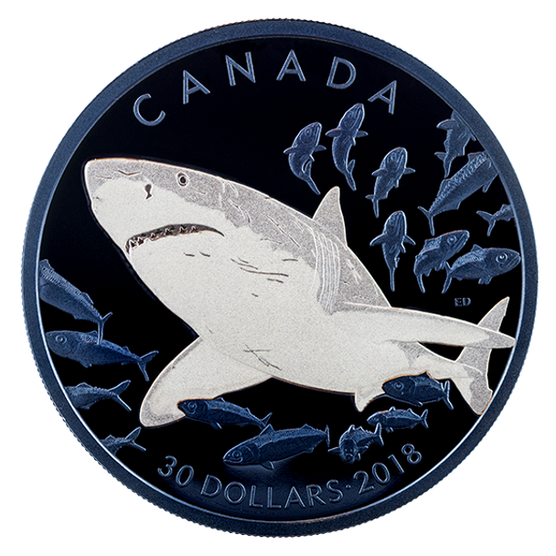 2018 $30 FINE SILVER COIN THE GREAT WHITE SHARK