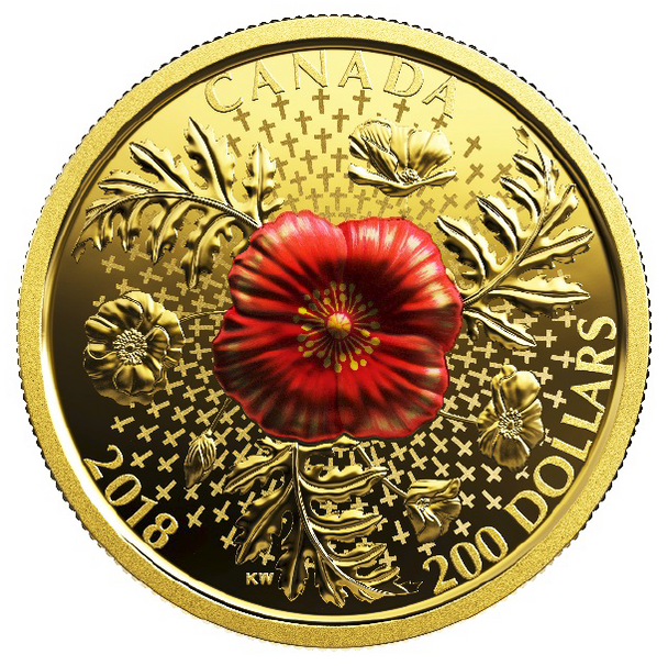 2018 $200 PURE GOLD COIN - ARMISTICE POPPY