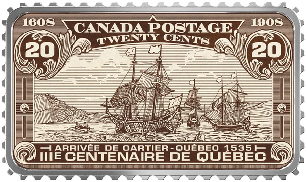 2019 $20 FINE SILVER COIN CANADA'S HISTORICAL STAMPS: ARRIVAL OF CARTIER – QUÉBEC 1535
