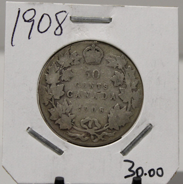 1908 CIRCULATION 50-CENT COIN - UNGRADED - AS PICTURED