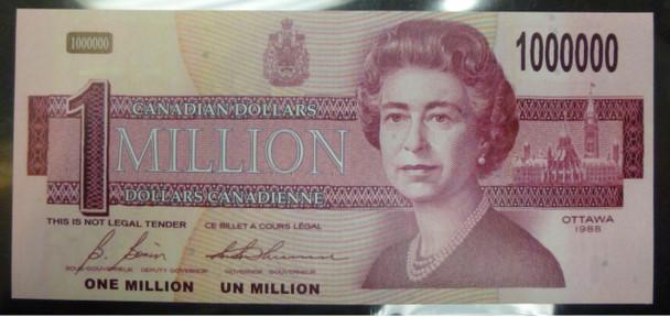 NOVELTY CANADIAN $1,000,000 MILLION DOLLAR BILL / NOTE / PAPER MONEY GAG GIFT