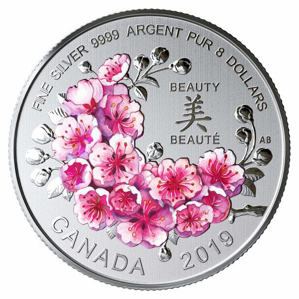 2019 $8 FINE SILVER COIN BRILLIANT CHERRY BLOSSOMS: A GIFT OF BEAUTY