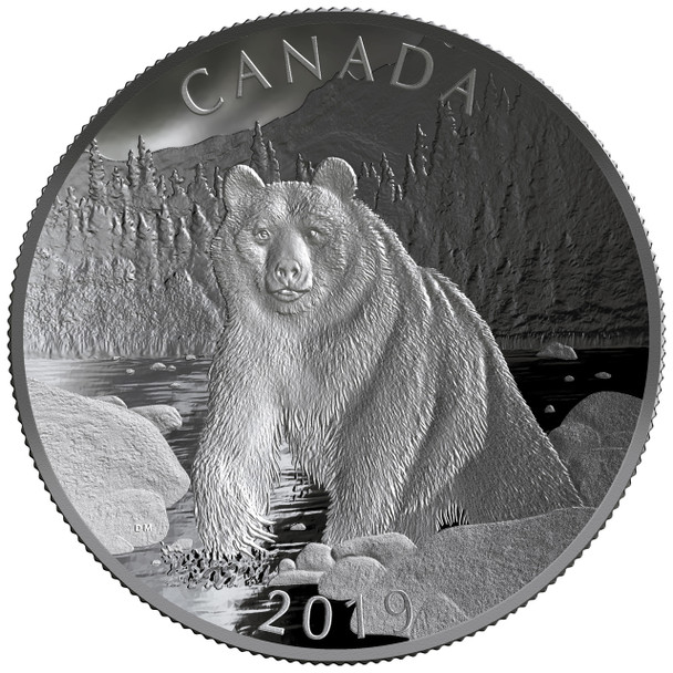 2019 $100 FINE SILVER DOUBLE CONCAVE COIN NATURE'S GRANDEUR: BROWN BEAR