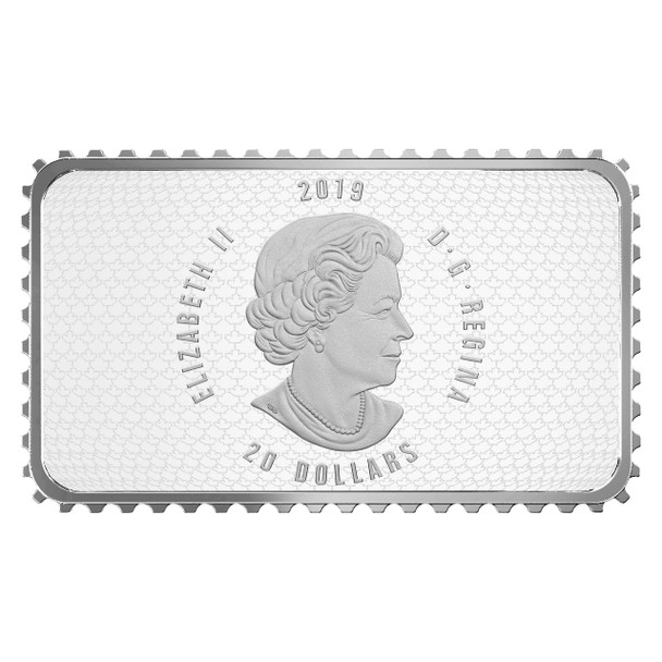 2019 $20 FINE SILVER COIN - CANADA'S HISTORICAL STAMPS COAT OF ARMS AND FLAGS SPECIAL DELIVERY