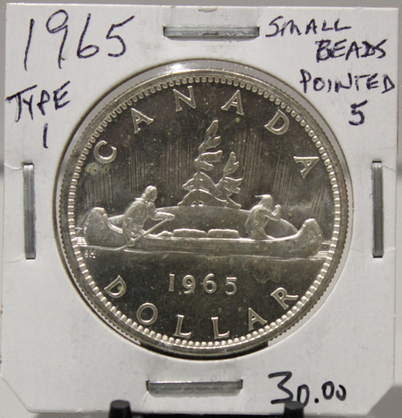 1965 CIRCULATION SILVER DOLLAR  - SMALL BEADS - POINTED 5 -  UNGRADED - AS PICTURED
