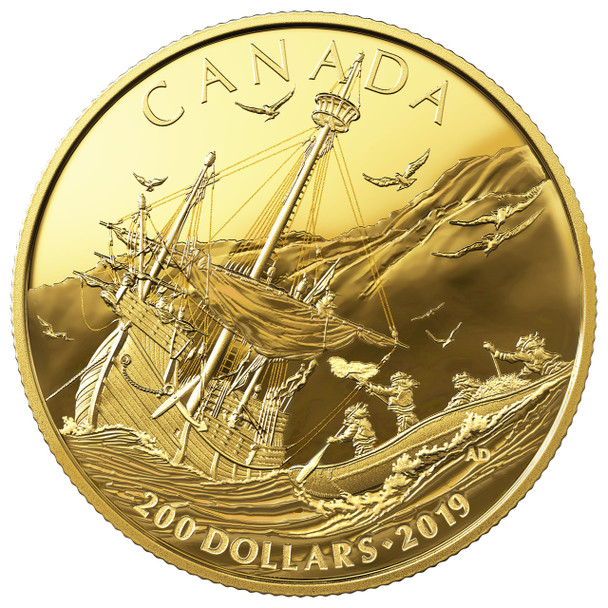 2019 $200 PURE GOLD COIN EARLY CANADIAN HISTORY: ARRIVAL OF THE EUROPEANS