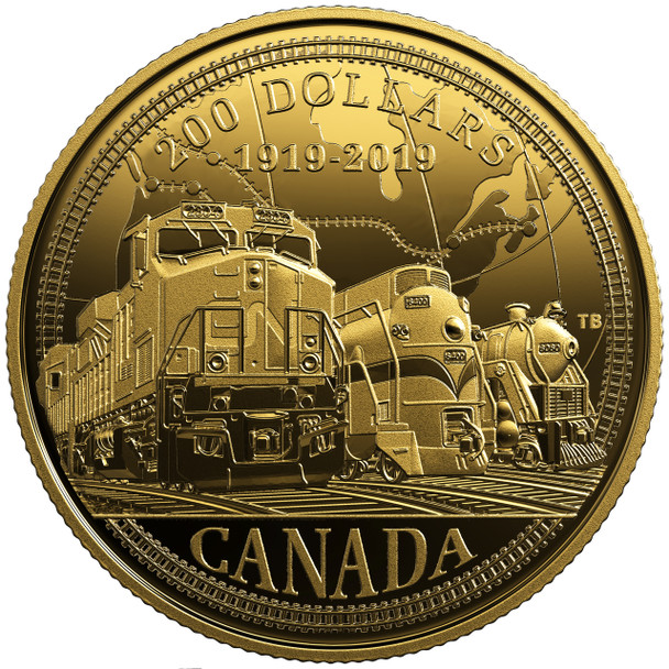 2019 $200 PURE GOLD COIN 100TH ANNIVERSARY OF CN