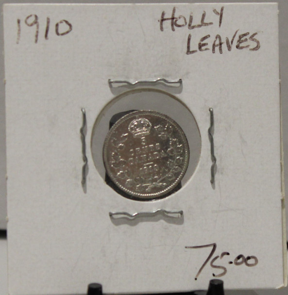 1910 5-CENT SILVER - HOLLY LEAVES - UNGRADED - AS PICTURED