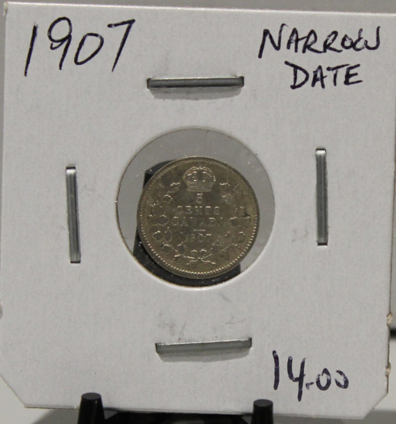 1907 5-CENT SILVER - NARROW DATE - UNGRADED - AS PICTURED