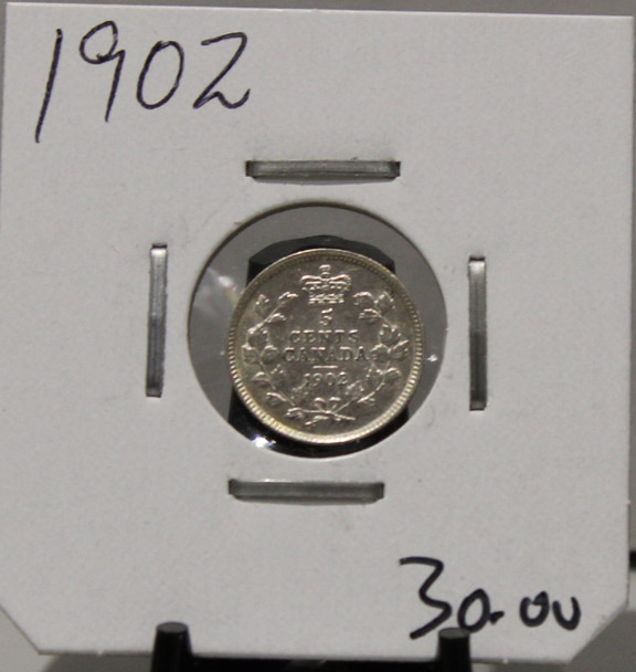 1902 5 -CENT SILVER - UNGRADED - AS PICTURED