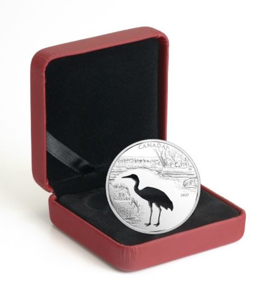 SALE - 2017 $30 FINE SILVER COIN ENDANGERED ANIMAL CUTOUT: WHOOPING CRANE