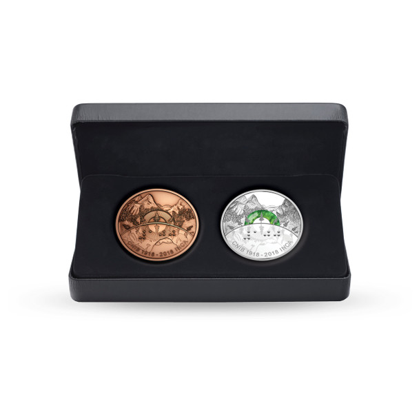 SALE - 2018 $30 FINE SILVER COIN AND BRONZE MEDALLION SET  100TH ANNIVERSARY OF THE CANADIAN NATIONAL INSTITUTE FOR THE BLIND