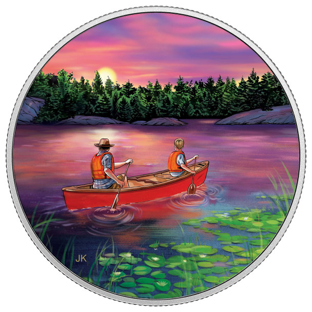 SALE - 2017 $15 FINE SILVER COIN GREAT CANADIAN OUTDOORS: SUNSET CANOEING