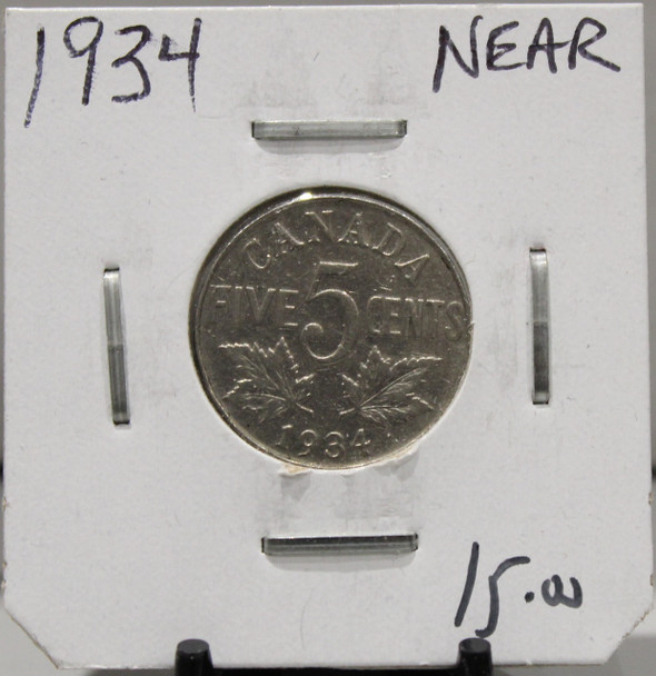1934 CANADIAN FIVE-CENT - 'NEAR' - UNGRADED - AS PICTURED