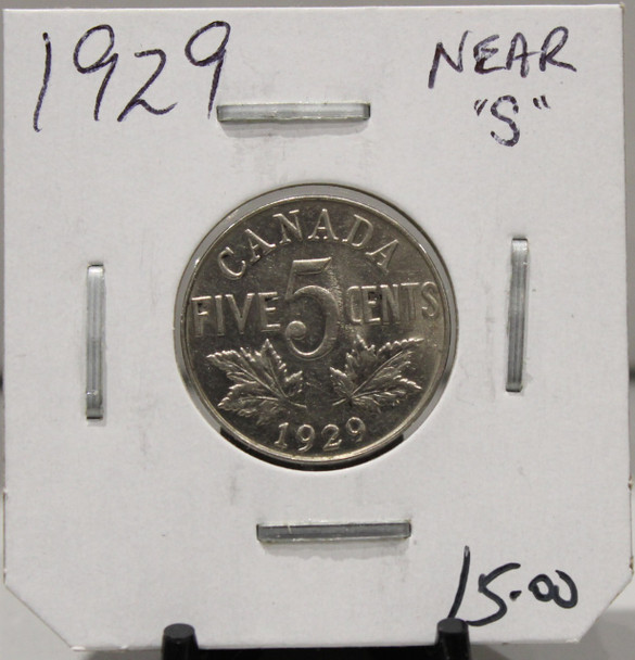1929 CANADIAN FIVE-CENT - NEAR S - UNGRADED - AS PICTURED