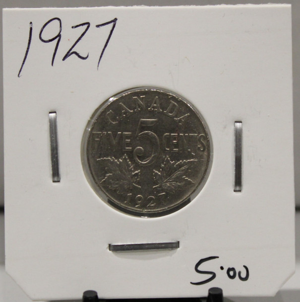1927 CANADIAN FIVE CENT - UNGRADED - AS PICTURED