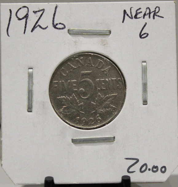 1926 CANADIAN FIVE-CENT - NEAR 6 - UNGRADED - AS PICTURED