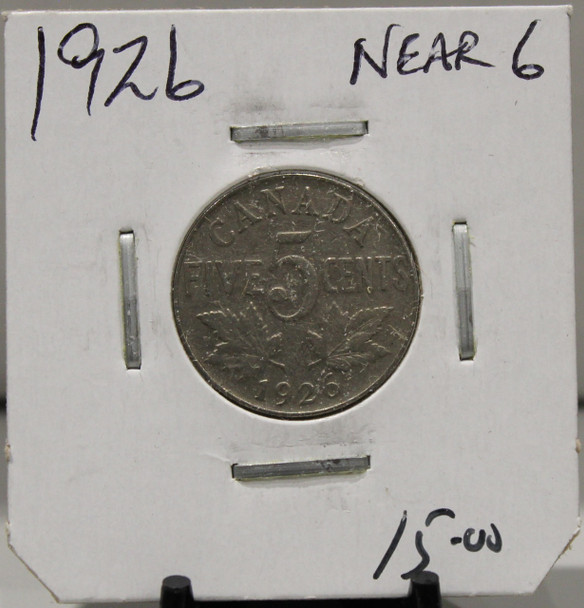 1926 CANADIAN FIVE CENT - NEAR 6 - UNGRADED - AS PICTURED