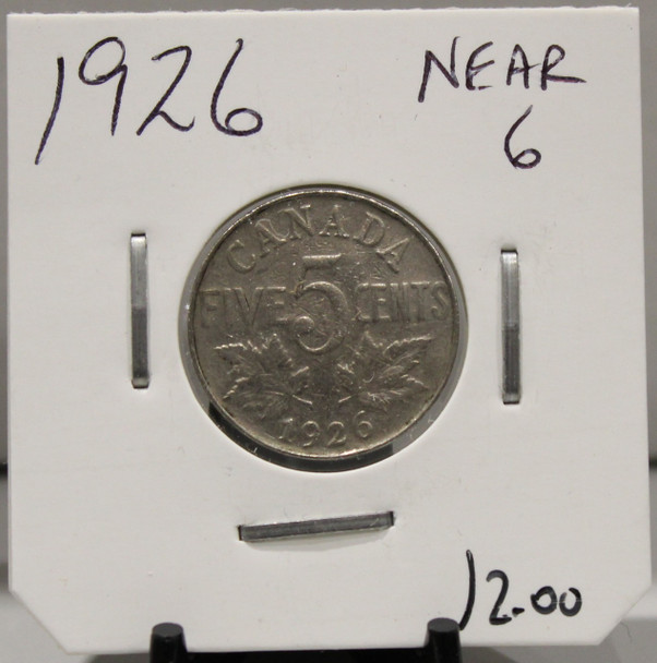 1926 CANADIAN FIVE- CENT - NEAR 6 - UNGRADED - AS PICTURED