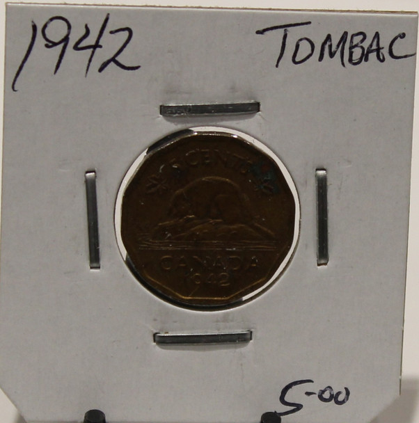 1942 CANADIAN FIVE- CENT - TOMBAC - UNGRADED - AS PICTURED