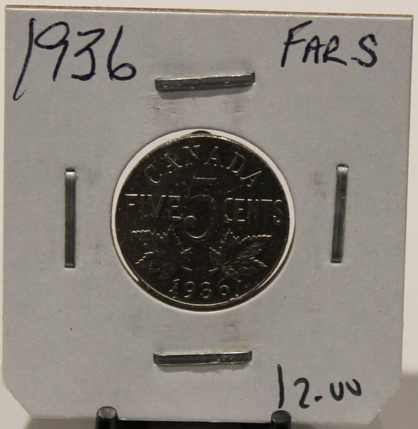 1936 CANADIAN FIVE-CENT - FAR S - UNGRADED - AS PICTURED