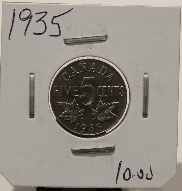 1935 CANADIAN FIVE- CENT - UNGRADED - AS PICTURED
