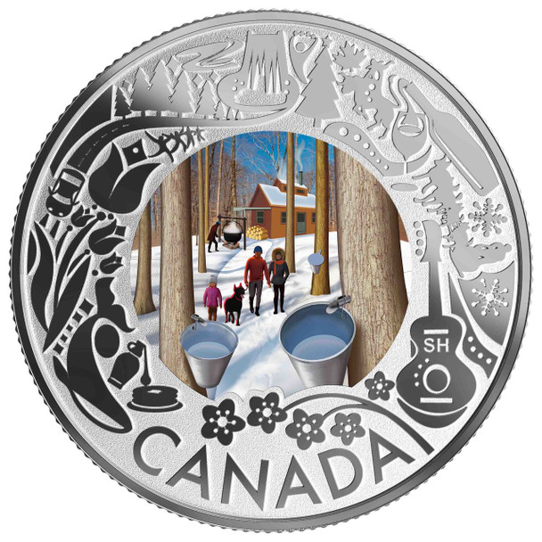 2019 $3 FINE SILVER COIN CELEBRATING CANADIAN FUN AND FESTIVITIES – MAPLE SYRUP TASTING