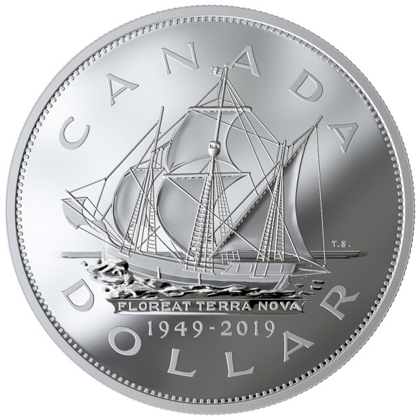 2019 $1 FINE SILVER COIN 70TH ANNIVERSARY OF NEWFOUNDLAND JOINING CANADA